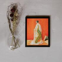 tavla med kvinna med kimono