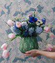 kruka med blommor tapet svalor vintagefabriken