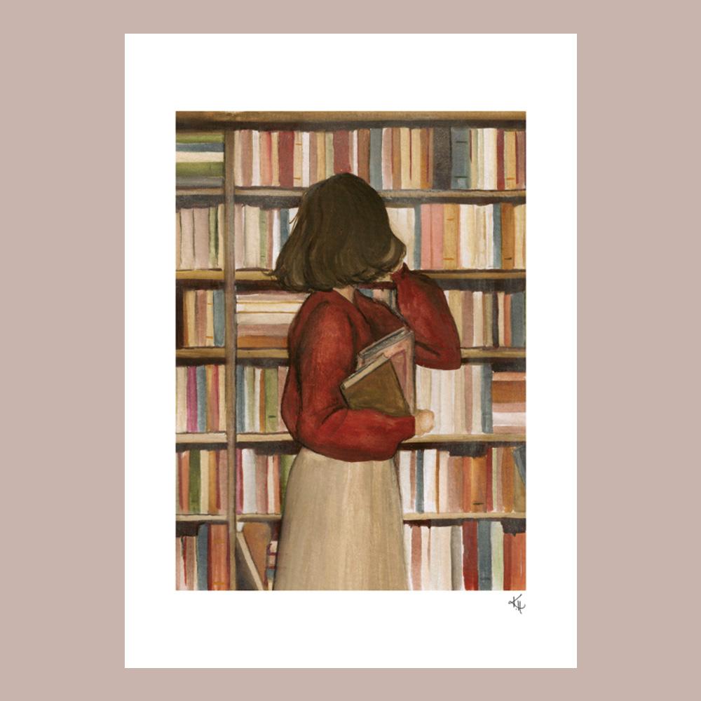 print med kvinna i bibliotek
