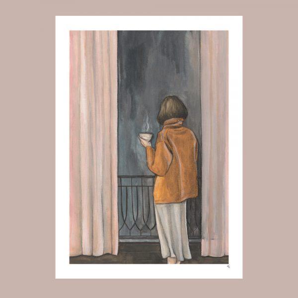 print av kvinna med kaffekopp i paris
