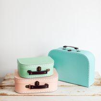 koffert 3 storlekar rosa mint bla