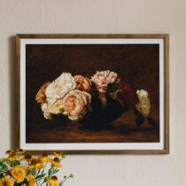 tavla med rosor i en guldram