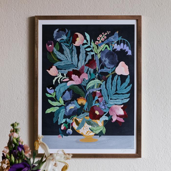 tavla med en blomma