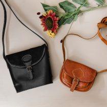 Vintage läderväskor svart och cognacsfärgad